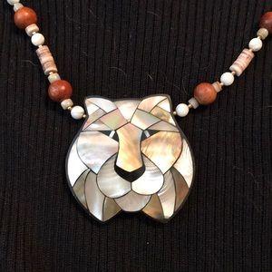 Rare Vintage Lee Sands Sponge Apple Coral Lion Inlay Pendant Necklace /& Post Earrings